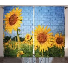 Image Wall Hanging Sunflowers Rustic Home Decor Graphic Print Room Darkening Rod Pocket Curtain Panels Wayfair East Urban Home Sunflowers Rustic Home Decor Graphic Print Room