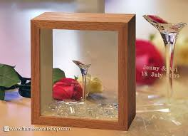 two sided frame for the anniversary the broken wine glass was framed in two sided oak two sided frame