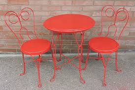 antique twisted wrought iron 3 piece ice cream parlor bistro set table chairs