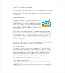 Format For Minutes Writing Summary Writing Minutes Template Meeting Example Sample