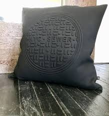 nyc sewer cushion cover in black 20 x20