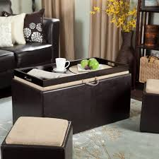 block black leather table with rectangle tray on the top and storage under it placed on the soft blue rug
