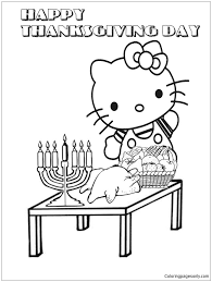 Free, printable hello kitty coloring pages, party invitations, printables and paper crafts for hello kitty fans the world over! Hello Kitty With Thanksgiving Party Coloring Page Free Coloring Pages Online