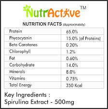 Nutractive Spirulina Capsules 500 Mg 120 Veg Capsules Green Super Food Blue Green Algae