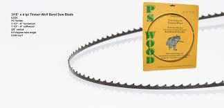 Timberwolf Bandsaw Blade Chart