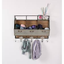 Storage Coat Rack With Baskets Delectable DSOV Arnica Rustic Wood And Metal Wall Storage Pockets With Coat