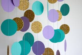 Turquoise Baby Shower Decorations Paper Garland In Lavender Teal And Gold Mermaid Party
