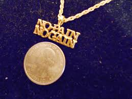 bling gold plated no pain no gain word words pendant charm rope bling 14kt yellow gold plated no pain no gain saying word pendant charm 24 inch rope
