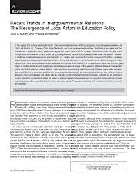 recent trends in intergovernmental relations the resurgence of recent trends in intergovernmental relations the resurgence of local actors in education policy