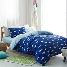 whole white shark cartoon bedding set for king or queen size blue duvet cover set bed quilt linen pillowcase 100 cotton bedsheet twin comforter sets