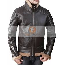 b3 er submariners ginger brown quilted leather jacket with faux fur leather jacket for men s