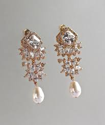 crystal chandelier earrings rose gold bridal earrings gold pearl drop earrings bridal jewelry lisa tp