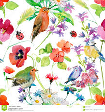 abstract watercolor hand painted background with flowers and birds royalty free stock images