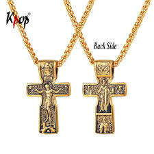 2019 kpop eastern orthodox cross pendant jewelry stainless steel gold color crucifix cross necklace for men p3255 from car