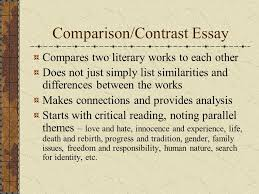 literature and ourselves writing about literature introduction  4 comparison contrast