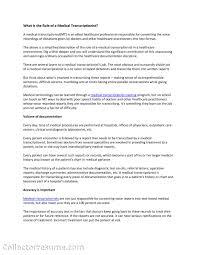 Medical Transcriptionist Resume Samples Transcription Sample No