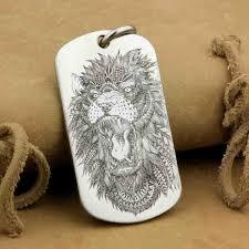 laser engraved indian angry lion dogtag high detail mens biker punk pendant 9x110