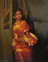 realistic tamil woman painting by ilayaraja realistic tamil woman painting