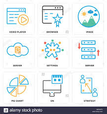 Chart Browser Set Of 9 Simple Editable Icons Such As Strategy On Pie
