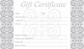 Free Printable Gift Certificate Template Word Editable And Printable Silver Swirls Gift Certificate Template