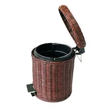 small wicker wastebasket with lid. Delighful Wastebasket Rattan Trash Can Wicker Wastebasket With Lid Bathroom Outdoor Resin Throughout Small Wicker Wastebasket With Lid L