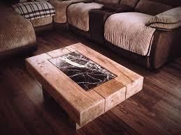 reclaimed pine coffee table rustic furniture railway sleeper oak