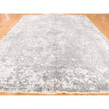 9 x11 9 hand knotted broken persian design wool and pure silk grey