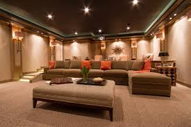 family room sofas Home Theater Contemporary with brown ottoman brown  sectional. Image by: Bethesda Systems