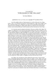 in the village essays stranger in the village essays