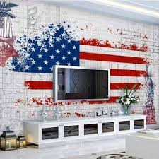 beibehang custom wallpaper retro american flag graffiti tv background walls home decor living room bedroom mural