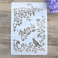 Diy Craft Bird Vine Flower Layering Stencils For Walls Painting