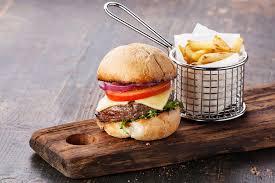 burger fries wooden board