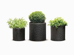 Cylindrical Rattan Herb Planters