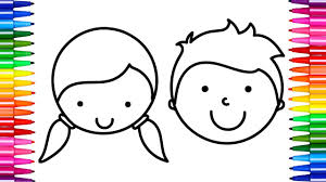 Small Picture How To Draw Boy and Girl Face Coloring Pages Faces for Kids Art