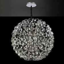 80cm diameter large ceiling pendant sphere chrome crystal light