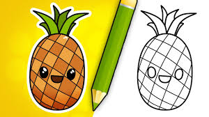 pineapple drawing. how to draw cartoon pineapple drawing