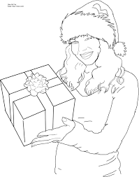 Christmas Santa S Helper With A Gift Coloring Page