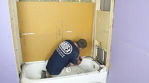install kerdi board on bathtub lip