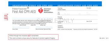 replacement card heartsaver first aid cpr