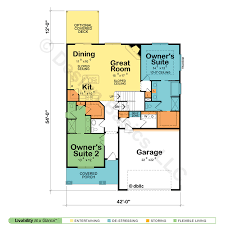 House Plans   Two Master Suites   Design BasicsDual owner    s suite home plan Dual master