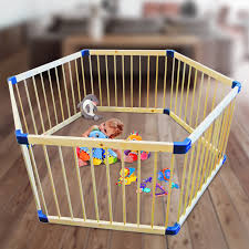 wooden hexagon playpen  child toddler play pen in natural timber