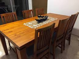purchased this beautiful solid teak wood dining table set with 6 chairs comes with seat cushion from scanteak was delivered to us on 10th feb 2017 and is