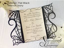 gothic spider web wedding invitation laser cut gatefold diy kit y love heart party