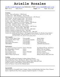 dance resume examples. Resume Templates Dance Resume Template Dance Teachers Resume