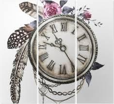 Parní Punk Akvarel Ilustrace S Wildflowers Klíče Pták Peří Růže šperky Hodiny Květiny Styl Tetování Ilustrace Izolovaných Na Bílém Pozadí
