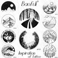 Us 046 5 Offcreative Round Lane Mountain Forest Temporary Diy Tattoo Sticker Paper Tree Black Tattoos Body Art Arm Fake Tatoo Road Women Men In