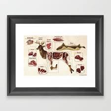 Deer Harvest Chart Framed Art Print