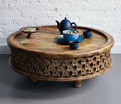 antique artistic brown wood round rustic coffee table ideas to complete living room designs