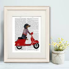 Dachshund Home Decor Dachshund Print Dachshund On Moped By Fabfunky Home Decor