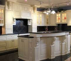 Antique White Kitchen Island Glamorous Crystal Chandelier Hung Above Kitchen Island Installed